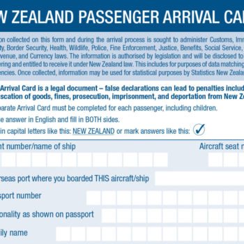 The Passenger Arrival Card for New Zealand